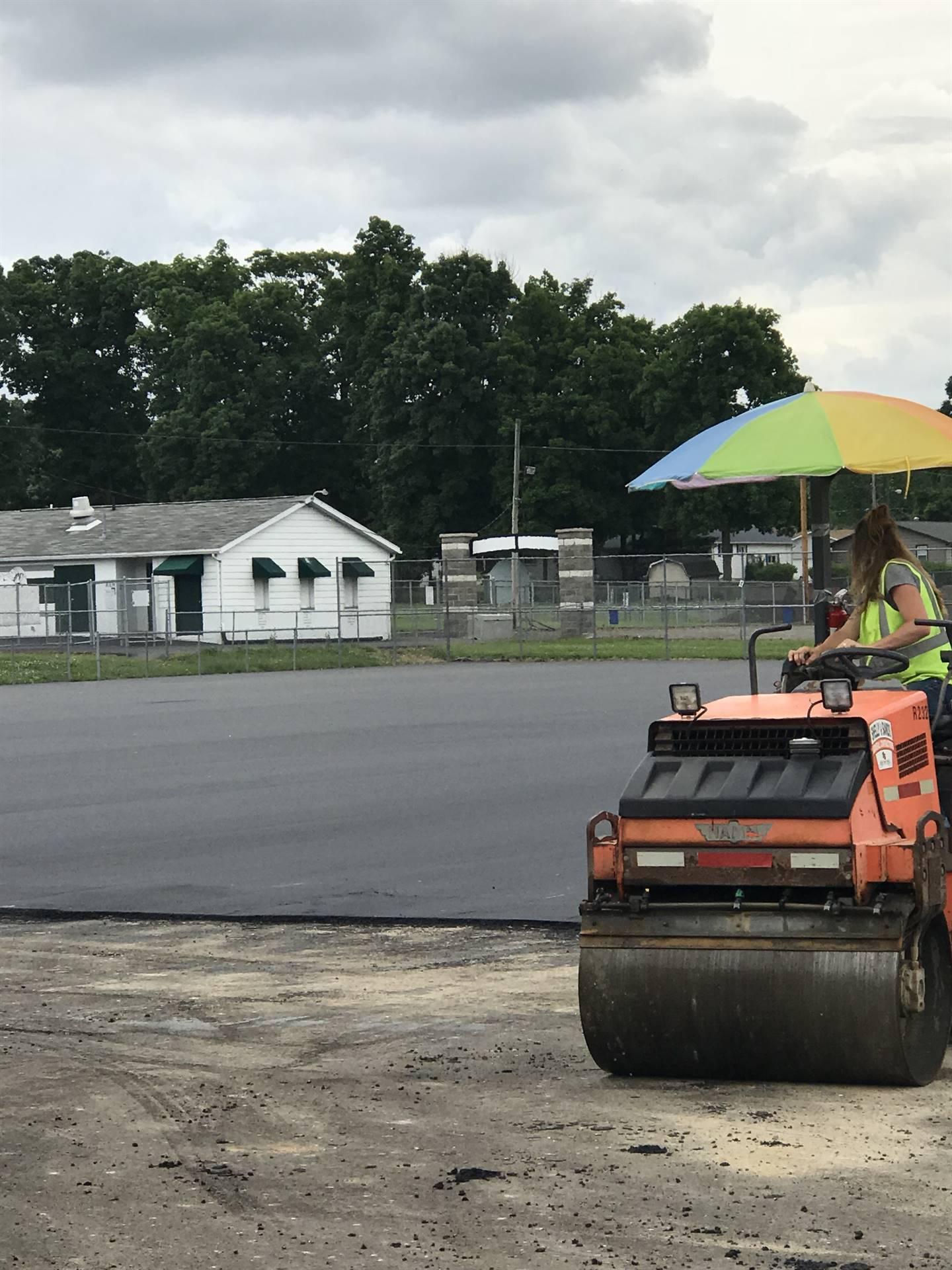 new asphalt being rolled