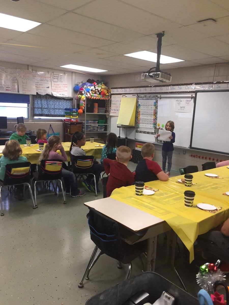 Student gives presentation