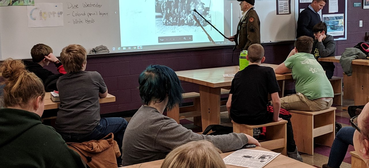 WWII Vet presenting to History Club