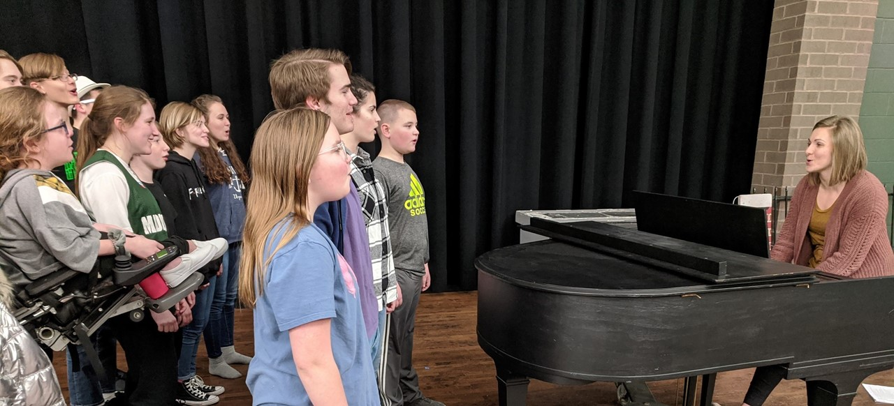 """Students rehearsing for the musical """"Mary Poppins"""""""